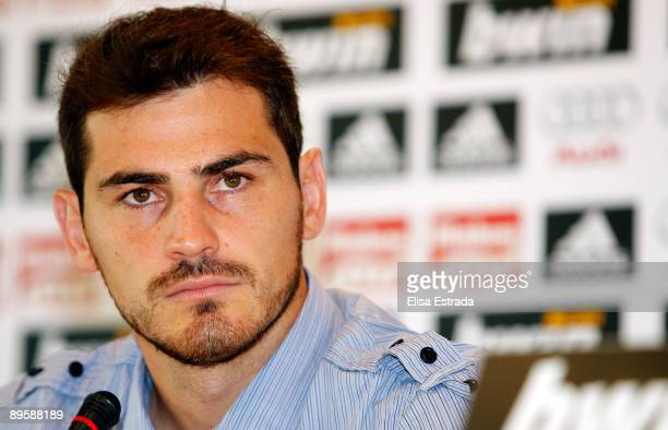 Real Madrid player Iker Casillas attends a press conference after a training session at Valdebebas on August 4 2009 in Madrid Spain
