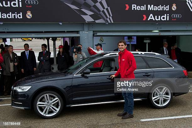 Real Madrid player Iker Casillas receives a new Audi A6 Allroad at the Jarama racetrack on November 8 2012 in Madrid Spain