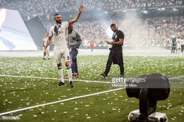 Real Madrid player Karim Benzema during the celebration of the 12th Champions League title in Santiago Bernabeu stadium