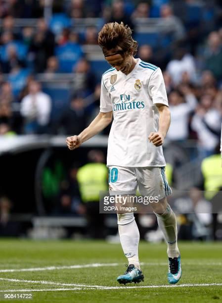Real Madrid player Luka Modric celebrates after he scored a goal. Real Madrid faced Deportivo de la Coruña at the Santiago Bernabeu stadium during...