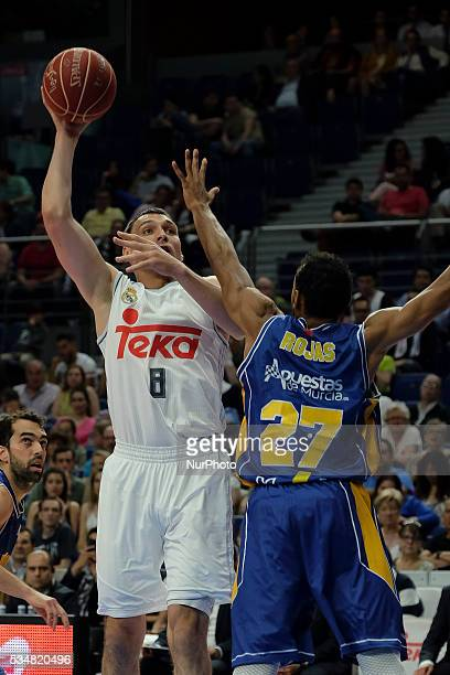 Real Madrid player of Jonas Maciulis during the basketball game between Real Madrid vs UCAM Murcia quarterfinal playoffs of the ACB league held at...