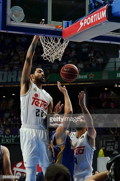 Real Madrid player of LIMA during the basketball game between Real Madrid vs UCAM Murcia quarterfinal playoffs of the ACB league held at the Sports...