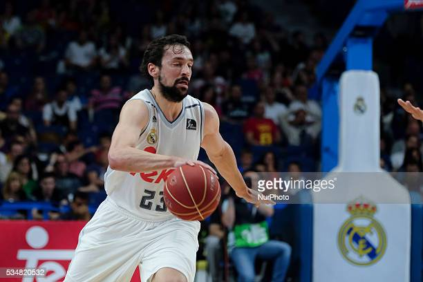 Real Madrid player of Sergio Llull during the basketball game between Real Madrid vs UCAM Murcia quarterfinal playoffs of the ACB league held at the...