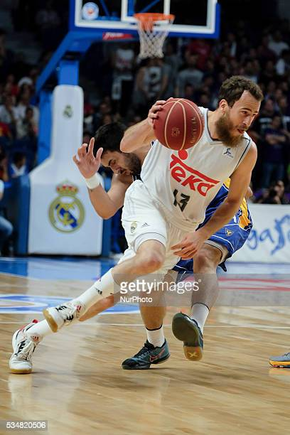 Real Madrid player of Sergio Rodriguez during the basketball game between Real Madrid vs UCAM Murcia quarterfinal playoffs of the ACB league held at...