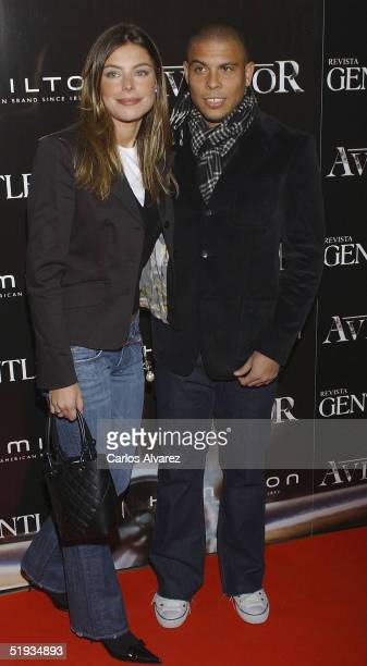 Real Madrid player Ronaldo and Daniela Cicarelli attend the Spanish Preimere of The Aviator at Palacio de la Musica Cinema on January 10 2005 in...