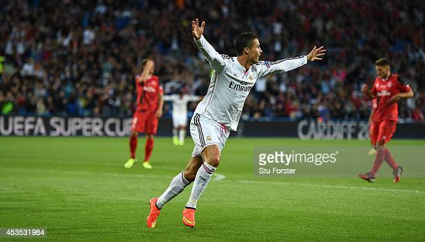 Real Madrid player Ronaldo celebrates after scoring the second goal during the UEFA Super Cup match between Real Madrid and Sevilla FC at Cardiff...