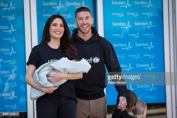 Real Madrid player Sergio Ramos and Pilar Rubio present their new born child Alejandro at La Moraleja Hospital on March 28 2018 in Madrid Spain
