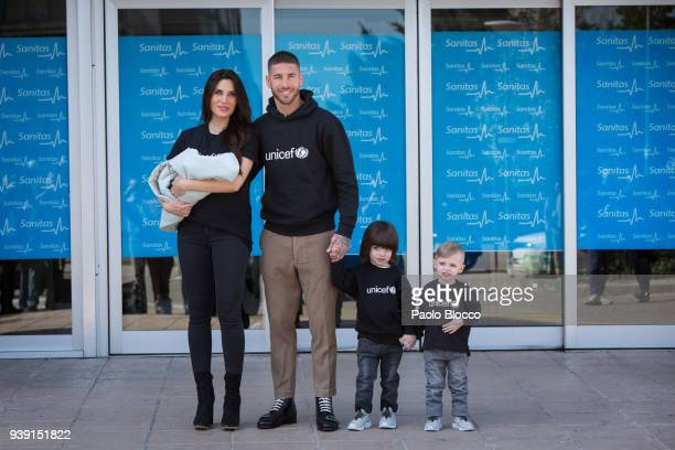 Real Madrid player Sergio Ramos Pilar Rubio and their kids Sergio and Marco present their new born child Alejandro at La Moraleja Hospital on March...