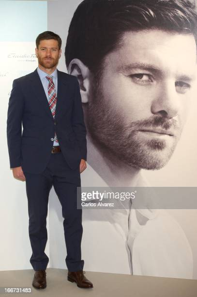 Real Madrid player Xabi Alonso presents the new Emidio Tucci Black collection at the El Corte Ingles Serrano store on April 16 2013 in Madrid Spain