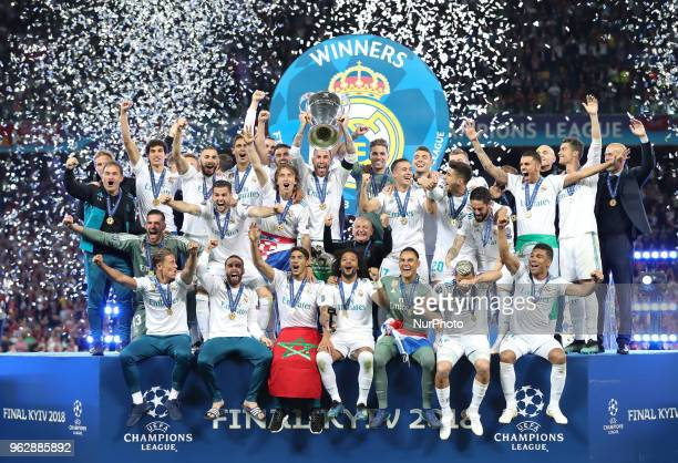 Real Madrid players celebrate after they won UEFA Champions League Final match against Liverpool FC at NSC Olipiyskyi stadium in Kyiv Ukraine May 26...