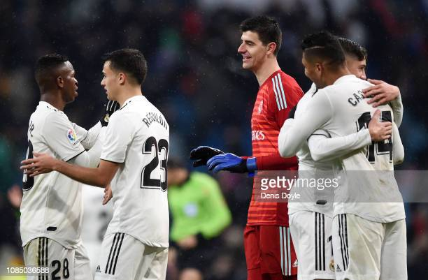 Real Madrid players celebrate following the La Liga match between Real Madrid CF and Sevilla FC at Estadio Santiago Bernabeu on January 19 2019 in...