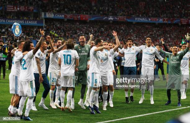 Real Madrid players celebrate the victory after the UEFA Champions League final football match between Real Madrid and Liverpool FC at the...