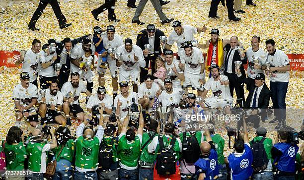 Real Madrid players celebrate their victory at the end of the Euroleague Final Four basketball match final between Real Madrid and Olympiacos Pireus...