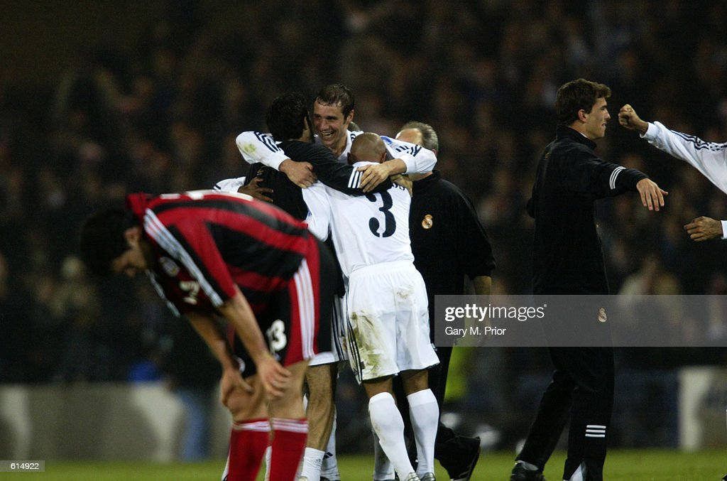 Real Madrid celebrate winning the cup while it's despair for the Bayer Leverkusen players : News Photo
