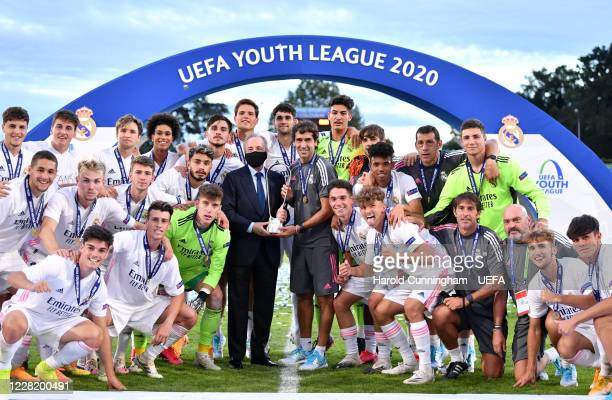 Real Madrid players celebrate with the Presdient Florentino Perez and head coach Raul Gonzalez Blanco following the UEFA Youth League Final 2019/20...