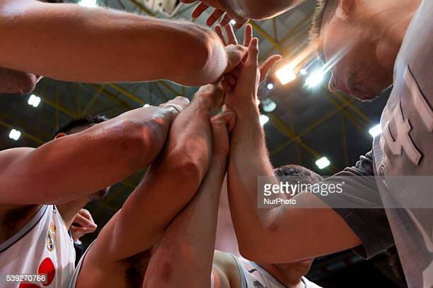 Real madrid players celebrates Endesa league basketball in fourth semifinals match between Valencia Basket and Real Madrid Basket played at Pabellon...