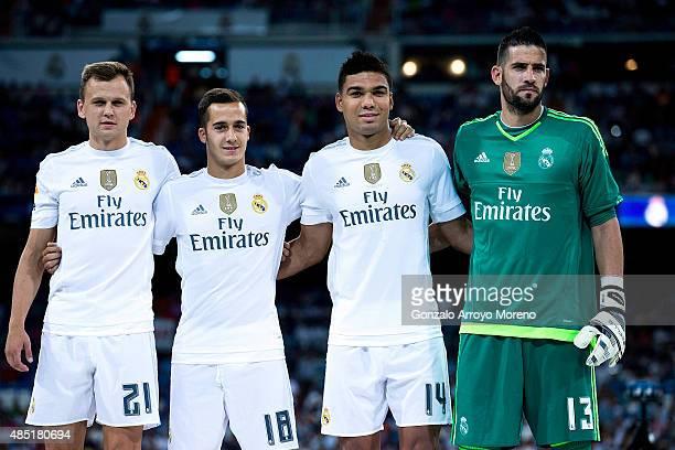 Real Madrid players coming form the reserve Denis Cheryshev Lucas Vazquez Carlos Casemiro and goalkeeper Francisco alias Kiko Casilla pose for the...