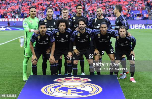 Real Madrid players Costa Rican goalkeeper Keylor Navas defender Sergio Ramos German midfielder Toni Kroos French defender Raphael Varane French...