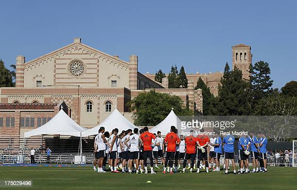 Real Madrid players during a training session at UCLA Campus on July 29 2013 in Los Angeles California