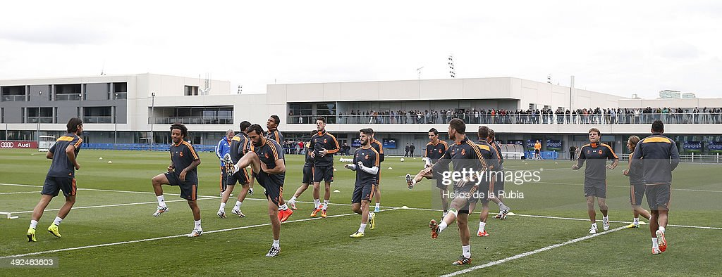 Real Madrid players during the Real Madrid UEFA Champions League Final Media Day at Valdebebas training ground on May 20, 2014 in Madrid, Spain.