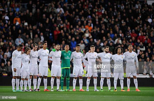 Real Madrid players hold a minute of silence for the victims of the bus crash earlier in the day in Tarragona before the start of the La Liga match...