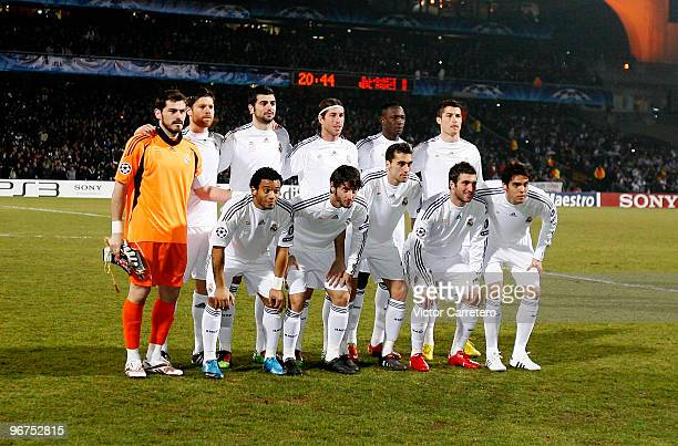 Real Madrid players line up before the Champions League round of 16 first leg match between Lyon and Real Madrid at Stade de Gerland on February 16...