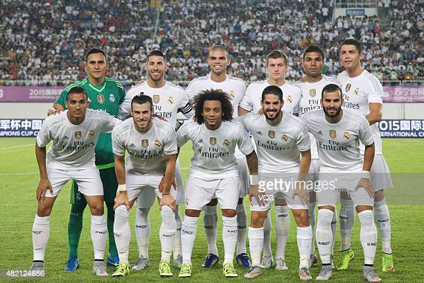 Real Madrid players line up prior to the International Champions Cup football match between Inter Milan and Real Madrid at Tianhe Sports Center on...