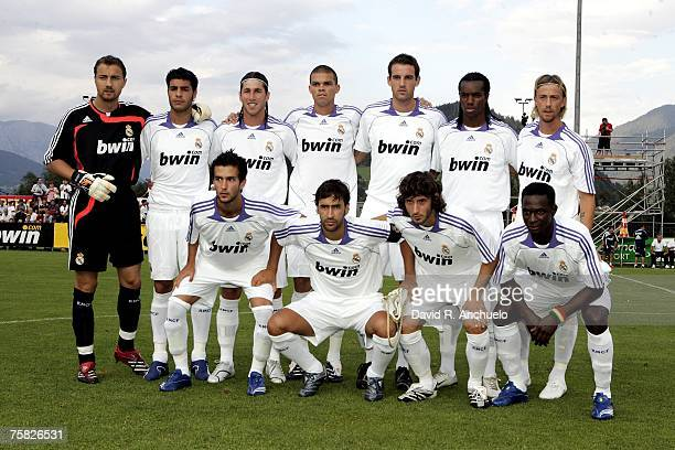 Real Madrid players lineup before the preseason friendly match between Real Madrid and Stoke City on July 27 2007 in Irdning Austria