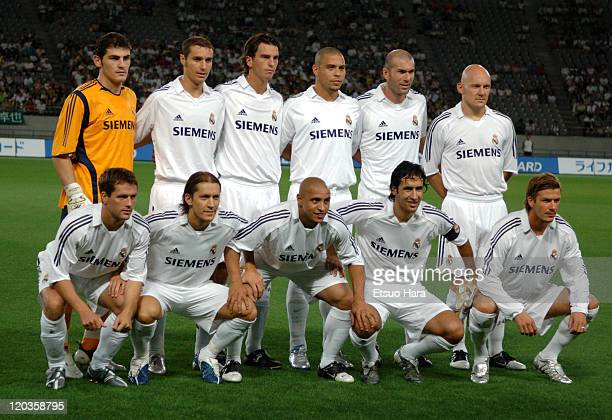 Real Madrid players Michael Owen, Michel Salgado, Roberto Carlos, Raul Gonzales, David Backham, Iker Casillas, Ivan Helguera, Ronaldo, Francisco...