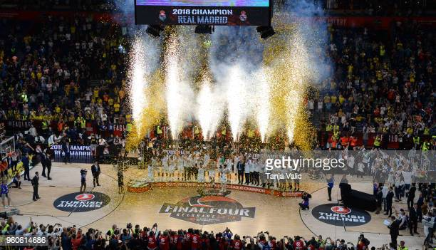 Real Madrid players new champion poses after during the 2018 Turkish Airlines EuroLeague F4 Champion Trophy Ceremony at Stark Arena on May 20 2018 in...