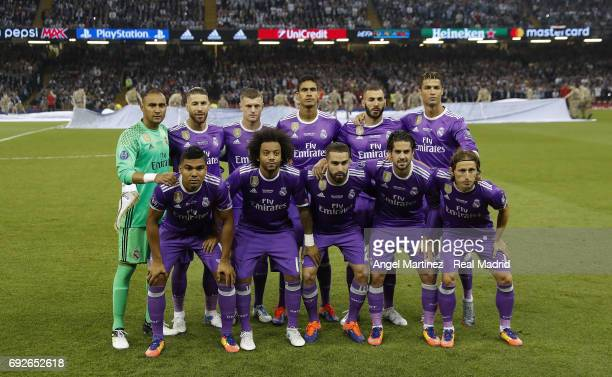 Real Madrid players pose before the UEFA Champions League Final match between Juventus and Real Madrid at National Stadium of Wales on June 3 2017 in...