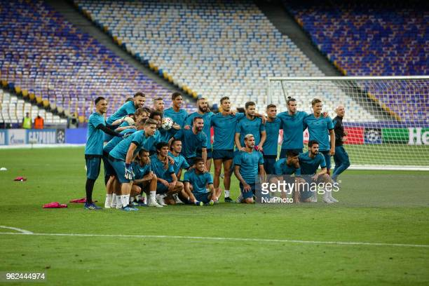 Real Madrid players pose for a picture during their training session for UEFA Champions League Final against Liverpool FC at NSC Olimpiyskyi in Kyiv...