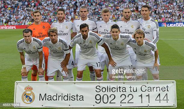 Real Madrid players pose for a team photo prior to the Spanish La Liga soccer match between Real Madrid and Atletico Madrid at the Santiago Bernabeu...