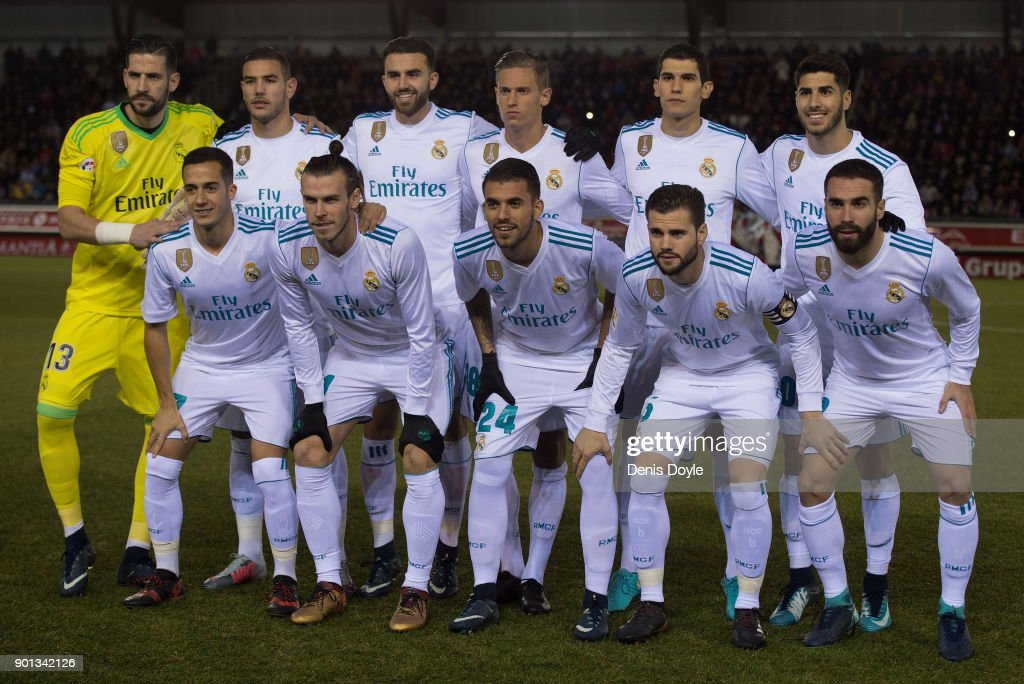 Real Madrid players pose for their team photograph before the Copa del Rey match between Numancia and Real Madrid at Nuevo Estadio Los Pajarito on January 4, 2018 in Soria, Spain.
