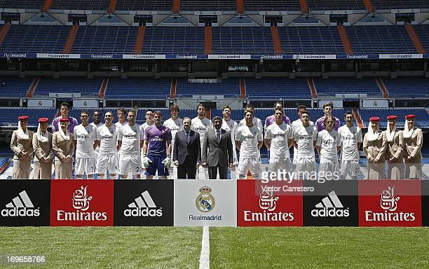 Real Madrid players president Florentino Perez and Sheikh Ahmed bin Saeed Al Maktoum Chairman of Emirates Airline attend a press conference for the...