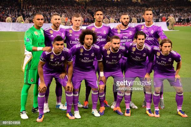 Real Madrid players Real Madrid's Costa Rican goalkeeper Keylor Navas Real Madrid's Spanish defender Sergio Ramos Real Madrid's German midfielder...