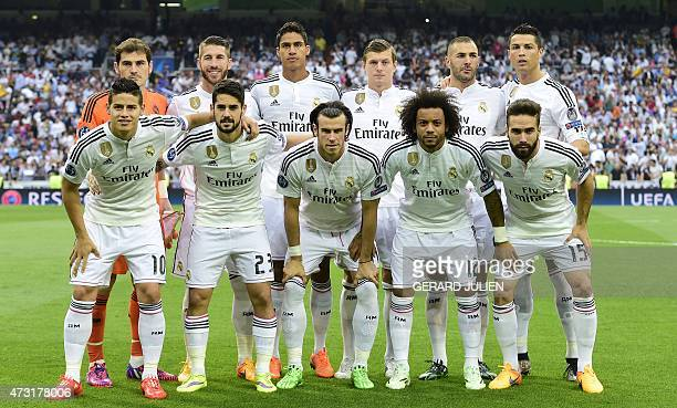 Real Madrid players Real Madrid's goalkeeper Iker Casillas Real Madrid's defender Sergio Ramos Real Madrid's French defender Raphael Varane Real...