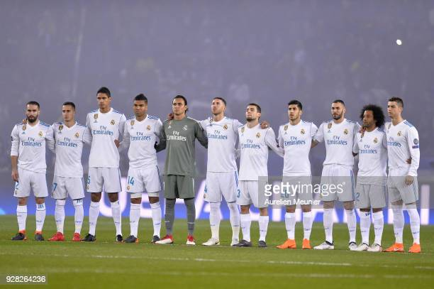 Real Madrid players respect one minute of silence for the death of Italien soccer player Davide Astori during the UEFA Champions League Round of 16...