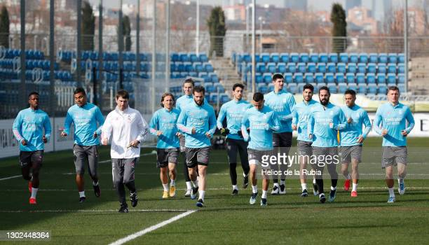 Real Madrid players running at Valdebebas training ground on February 16, 2021 in Madrid, Spain.