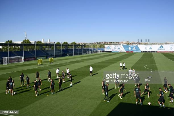 Real Madrid players take part in a training session at Real Madrid sport city in Madrid on August 12 on the eve of the Spanish SuperCup first leg...