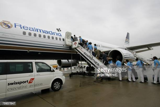 Real Madrid players take the plane to travel to Moscow to play Railways Trophy at the Hanover airport on August 2 2007 in Hanover Germany
