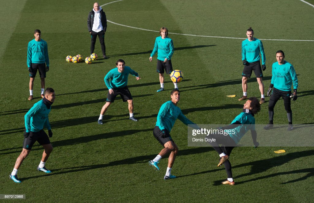 Real Madrid players train during the Real Madrid training session at Valdebebas training ground on December 22, 2017 in Madrid, Spain.