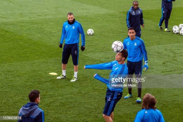 Real Madrid players training before match against VfL Wolfsburgo.