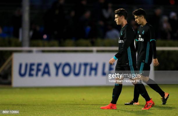 Real Madrid players walk off dejected following defeat during the UEFA Youth League group H match between Tottenham Hotspur and Real Madrid at the...