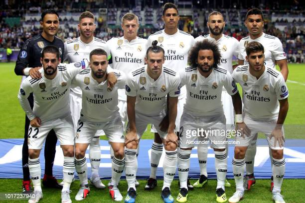 Real Madrid pose for a photo ahead of the UEFA Super Cup between Real Madrid and Atletico Madrid at Lillekula Stadium on August 15 2018 in Tallinn...