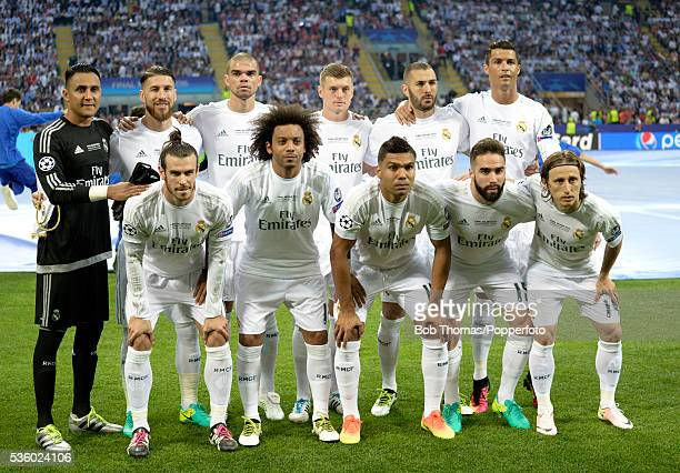 Real Madrid pose for a team group before the UEFA Champions League Final match between Real Madrid and Club Atletico de Madrid at Stadio Giuseppe...