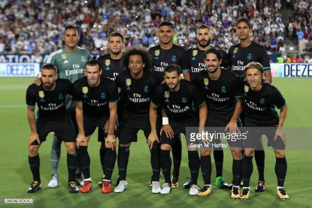 Real Madrid pose for a team photo prior to a match against Manchester City during the International Champions Cup soccer match at Los Angeles...