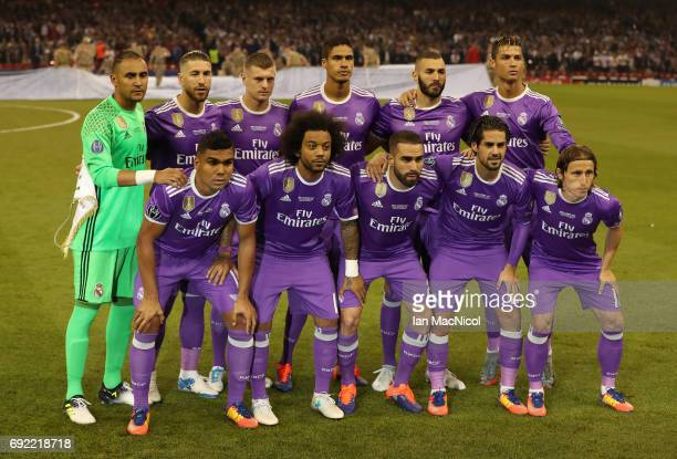 Real Madrid pose for a team photograph during the UEFA Champions League Final between Juventus and Real Madrid at National Stadium of Wales on June 3...