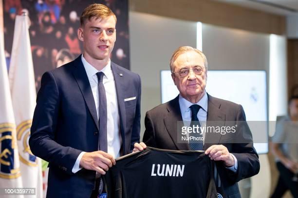 Real Madrid president Florentino Perez and Andriy Lunin during his presentation as new Real Madrid goalkeeper at Santiago Bernabéu Stadium in Madrid...