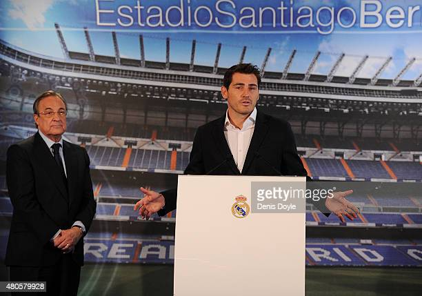 Real Madrid President Florentino Perez and Iker Casillas attend a press conference to announce that Iker Casillas will be leaving Real Madrid on July...